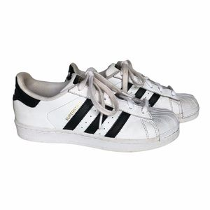 Adidas Superstar Blk White Shell Toe Sneakers 6.5